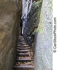 Bohemian Paradise - Rocks Stair - Narrow Path - Narrow Parh...