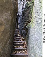 Bohemian Paradise - Rocks Stair - Narrow Path - Narrow Parh...