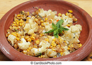 Balti sweetcorn and cauliflower curry
