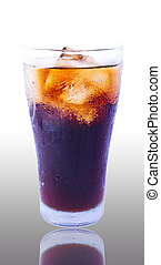 Cola soda - Glass filled with ice cubes and Cola soda