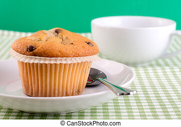 Fresh muffin on the table.