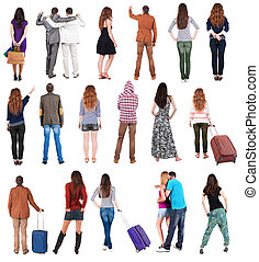 "Collection "" Back view people "". Rear view people set...."