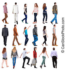 "collection "" back view of walking people ""."