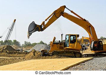 construção, local, máquinas