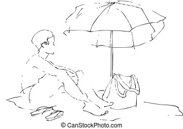 a boy sits on a beach under an umbrella - sketch a boy sits...