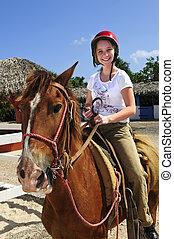 niña, equitación, caballo