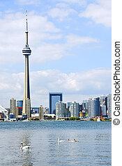 Toronto skyline - Toronto harbor skyline with CN Tower and...