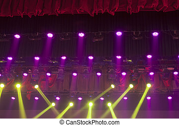 stage lights colorful in a nightclub venue