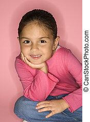 Female latina girl smiling.