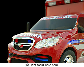 Ambulance: Closeup view of emergency services vehicle on black