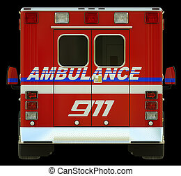 Ambulance: Rear view of emergency services vehicle over...