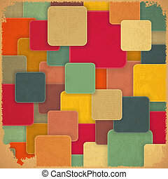 Retro Background with Colored Squares in Vintage Style....