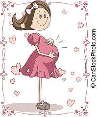 Pregnancy Cartoon - Vector hand-drawn cartoon illustration...