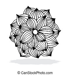 Flower background - Black flower on simple white background...