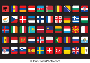 icons with flags of Europe