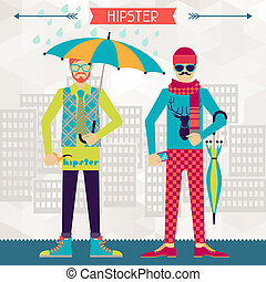 Two hipsters on urban background in retro style