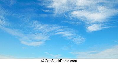 藍色, 天空, 絨毛狀, 云霧