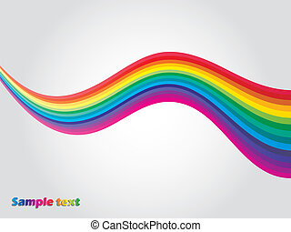 Rainbow wave - Separated rainbow waves on light gray...
