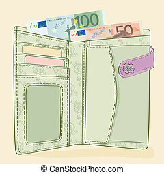 wallet with 50 and 100 Euro bills.