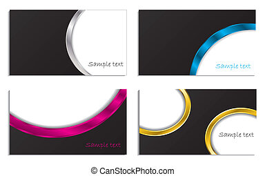 3d waved business cards - 3d waved business card design set...