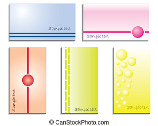 Color business card set of five with various elements