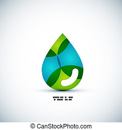 Green eco water drop concept - Green eco water drop vector...