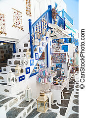 Detail image from a greek touristic shop on Mykonos island,...