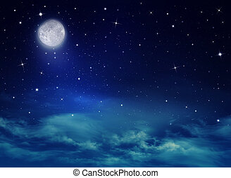 Nightly sky with stars and moon - Nightly sky