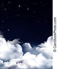 Nightly sky with fluffy clouds - Nightly sky with stars and...
