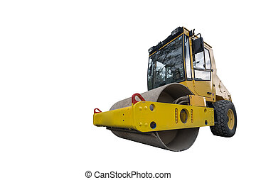 front view of huge isolated yellow compactor truck
