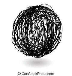 scribble ball icon circle with a drop shadow