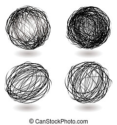 scribble nest variation - Black scribble balls with drop...