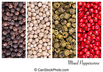 Peppercorn collage - A collage of peppercorn varieties on...