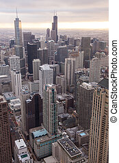 Chicago skyline from the hancock tower - Chicago Skyline...