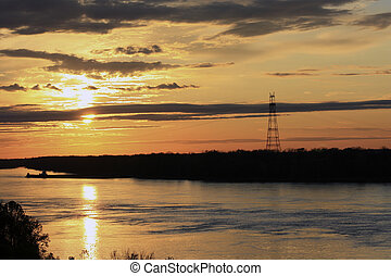 Golden Sunset Behind Clouds - Sunset at Mississippi River-...