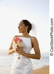 Mazzolino, sposa, spiaggia, presa a terra