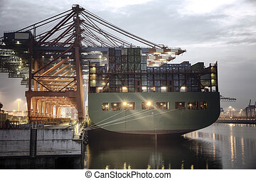 Container Ship - Container ship in the harbor of Hamburg