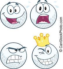 Golf Balls Different Expression - Golf Ball Different...