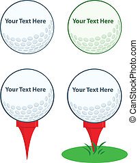 Golf Ball With Tee.Collection - Cartoon Character Golf Ball...