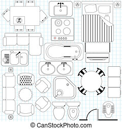 Simple Furniture Floor Plan - Vector Icons : Simple...