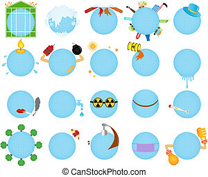 Environmental Change Global warming - Vector Icons of...