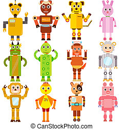Twelve Zodiac Robots - A set of colorful and cute vector...