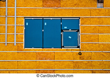 Windiw and insulation - Blue window and yellow insualtion...