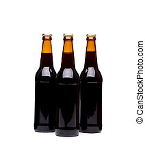 Three beer bottles. Isolated on white background