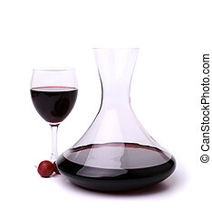decanter with red wine and glass on white background