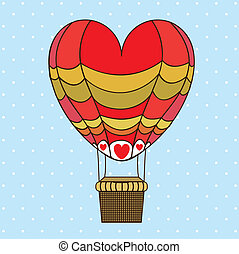 balloon heart design over dotted background vector...