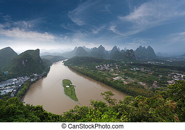 overlooking the karst landform and lijiang river in yangshuo...