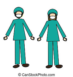 doctors couple over white background vector illustration