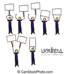 workers protest  over white background vector illustration