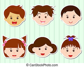 Heads of Girls/Boys with Brown Hair - A Theme of cute vector...